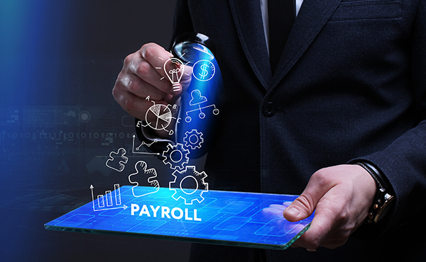 Man looking at Payroll illustation
